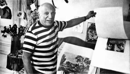 Pablo Picasso in seiner Villa la Californie